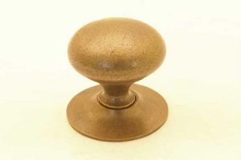 Knop rond brons antiek 25mm met rond achterplaatje