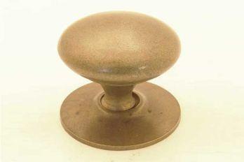 Knop rond met achterplaatje 32mm brons antiek