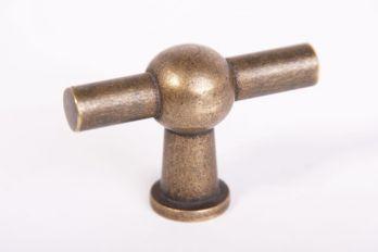 Knop brons antiek chemin de fer 55mm T-vormige kraanknop