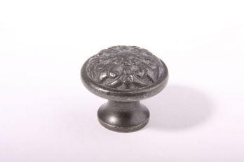 Ronde klassieke knop van gietijzer Franse lelie 32mm Grijs/tinkleur