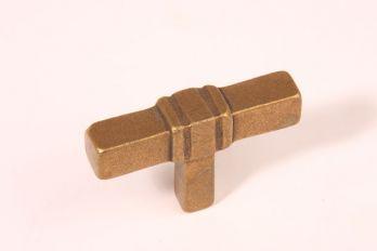 Knop T-vorm brons antiek 63mm