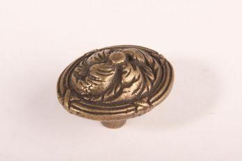 Knop klassiek ovaal Brons antiek 47mm
