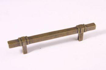 Meubelgreep en keukengreep vierkant brons antiek 128mm