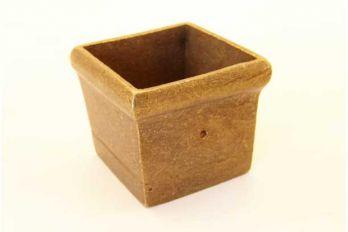 Meubelvoetje vierkant brons antiek voor meubelpoten 31mm - 32mm