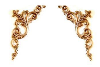Paar hoek-ornamenten beuken 280 mm