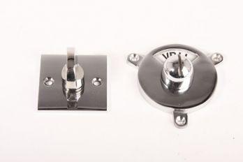 WC sluiting vrij bezet Bauhaus-vierkante rozet blinkend chroom
