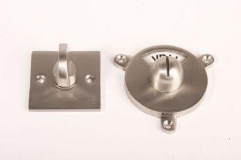 WC sluiting vrij bezet Bauhaus-vierkante rozet geborsteld nikkel