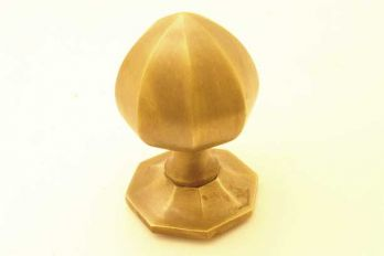 Voordeurknop brons antiek achthoekig
