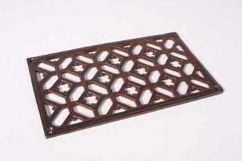 Luchtrooster gietijzer rechthoekig roest of tinkleur 12x20cm. Een rooster gemaakt van massief gietijzer voor bijvoorbeeld op luchtkanalen.