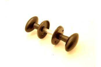 Deurkrukken/knoppen (paar)  roest of zwart met deurrozet