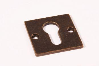 Rozet Bauhaus brons antiek vierkant 50mm voor cilinderslot