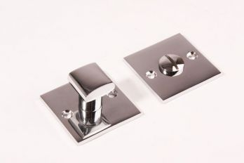 WC sluiting Chroom vierkant 50mm met ovaal vierkante knop