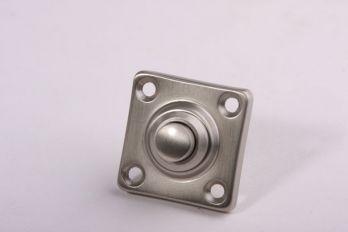 Beldrukker vierkant geborsteld nikkel 37mm