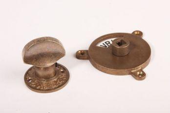 WC sluiting brons antiek platte knop + rozet 738 zwart/wit