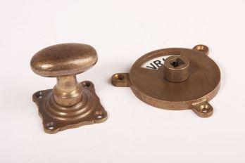 WC sluiting brons antiek kleine ovale knop + rozet 768 zwart/wit