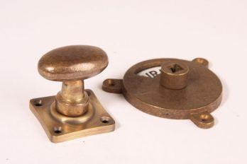 WC sluiting brons antiek kleine ovale knop + rozet 992 zwart/wit