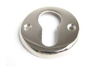 Rozet voor cilinderslot blinkend nikkel of chroom.