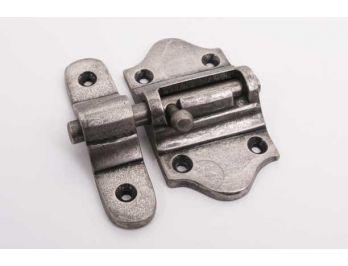 Grendel zilver antiek 40mm schuif met aanslag voor binnen- en buitendeuren