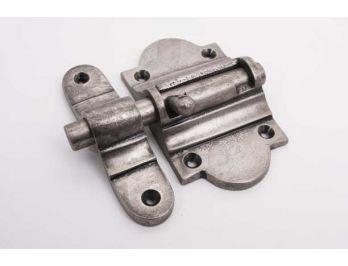 Schuif zilver antiek 50mm grendel met aanslag voor binnendeuren en buitendeuren