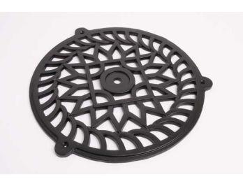 Groot luchtrooster gietijzer zwart met een diameter van 250mm
