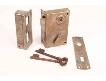 Slot opdek massief messing met 2 sleutels verticaal rechts of links 140mm