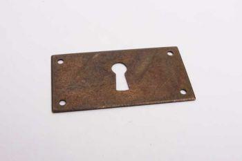 Sleutelplaat rechthoekig voor meubelen brons antiek 35mm x 65mm dwars