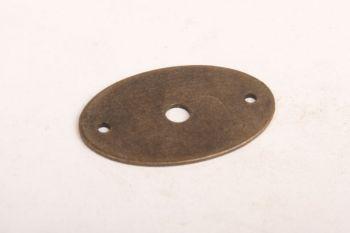 Achterplaatje 32mm ijzer brons antiek ovaal 50mm hoog