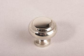 Knop rond blinkend nikkel 30mm