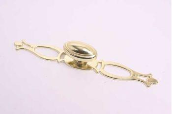 Knop ovaal voor meubel en keuken messing met achterplaat 20mm (zamac)