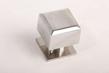 Vierkante knop modern blinkend chroom 25mm met voetje