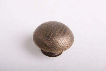 Knop brons antiek of messing polijst 38mm met ruitjes