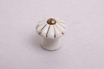 Knop wit porselein geribbeld met gouden streepjes 19mm-34mm met schroef