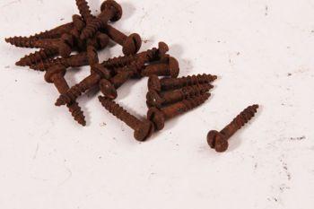 Schroeven ijzer roest met bolkop en gleuf 5.0 x 25mm 50 stuks.