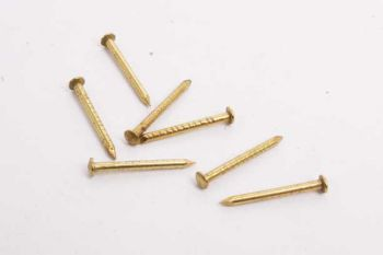 Nagel spijkertje messing massief bolkop 1.5 x 18mm per 200 gram