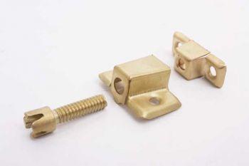 Kastverbinder ijzer met bout om kastonderdelen te monteren 25mm mat messing