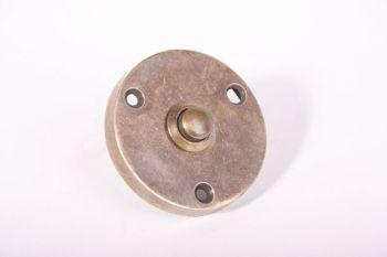 Deurbel-beldrukker brons antiek 57mm rond