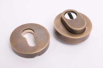 Profiel-cilinderrozet rond-met kerntrek voor PC-slot brons antiek SKG***