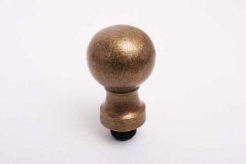 Bol rond 40mm brons antiek met inslagplug voor 20mm buis