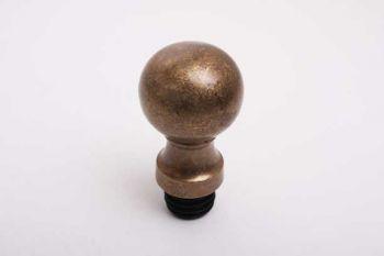 Bol rond 40mm brons antiek met inslagplug voor 25mm buis