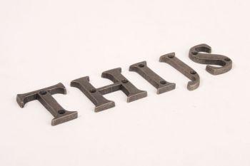 Letters zilver/grijs antiek A-Z, &, @, - 50mm
