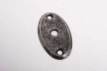Slotplaatje voor bijzet insteekslot kruisbaard sleutel zilver antiek