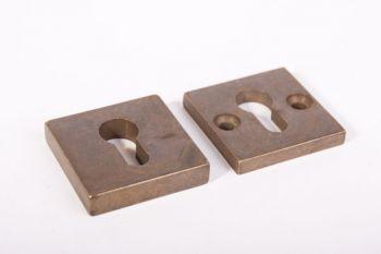 SKG*** rozet voor profiel-cilidersloten veiligheidsbeslag brons antiek vierkant