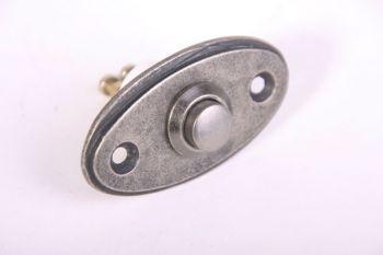 Deurbel-beldrukker ovaal zilver antiek 33 mm
