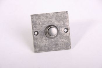 Beldrukker vierkant zilver antiek 50mm Bauhaus
