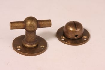WC sluiting Chemin de fer brons antiek 45mm met rozetten 40mm.