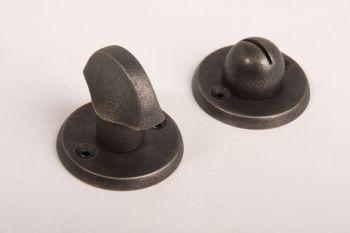 WC sluiting zilver antiek platte knop met ronde rozetten