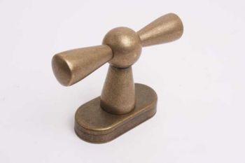Raamkruk kluis-kruk brons antiek met zwart kapje draai-kiep