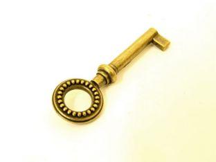 Baardsleutel brons antiek met rond oog en bolletjes gat 35mm
