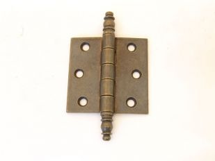 Scharnier brons antiek 63x63mm met sierknop