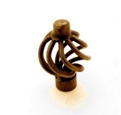 Knop draadknop brons antiek 34mm